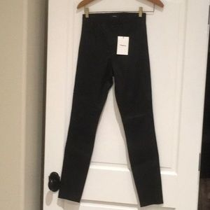 Theory Adbelle black stretch leather skinny jeans